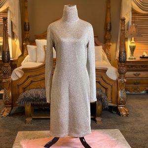 RARE Vtg Ralph Lauren Metal Sweater Dress Sz L